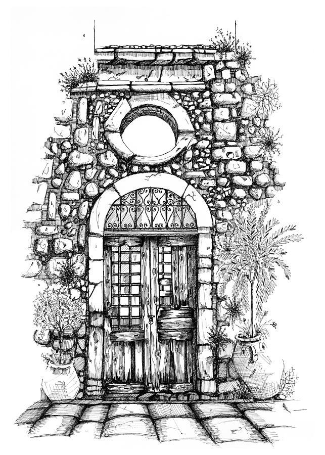 Old Door Of Turkish Bath Rethymno Creta Drawing By Franko