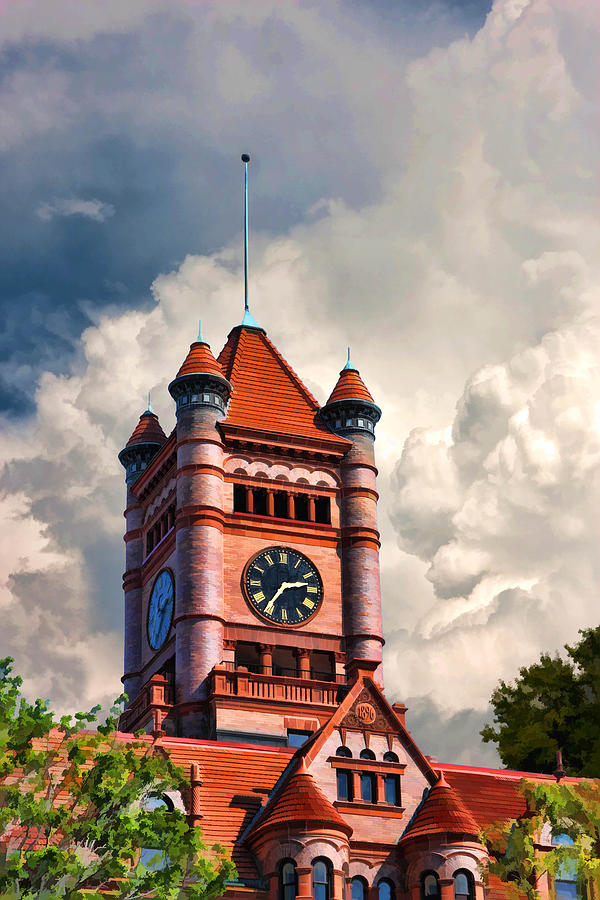 Old Dupage County Courthouse Clouds Painting  - Old Dupage County Courthouse Clouds Fine Art Print