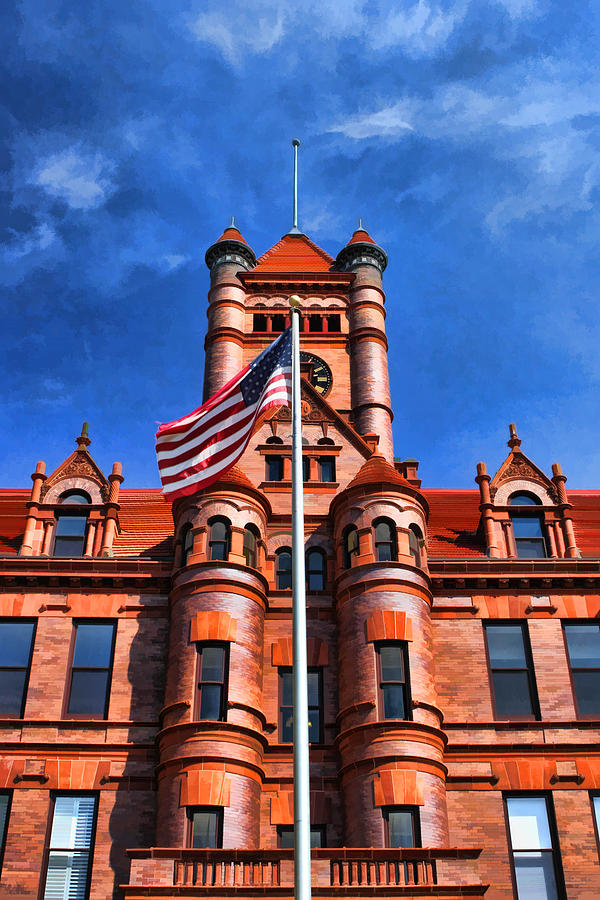 Old Dupage County Courthouse Flag Painting  - Old Dupage County Courthouse Flag Fine Art Print