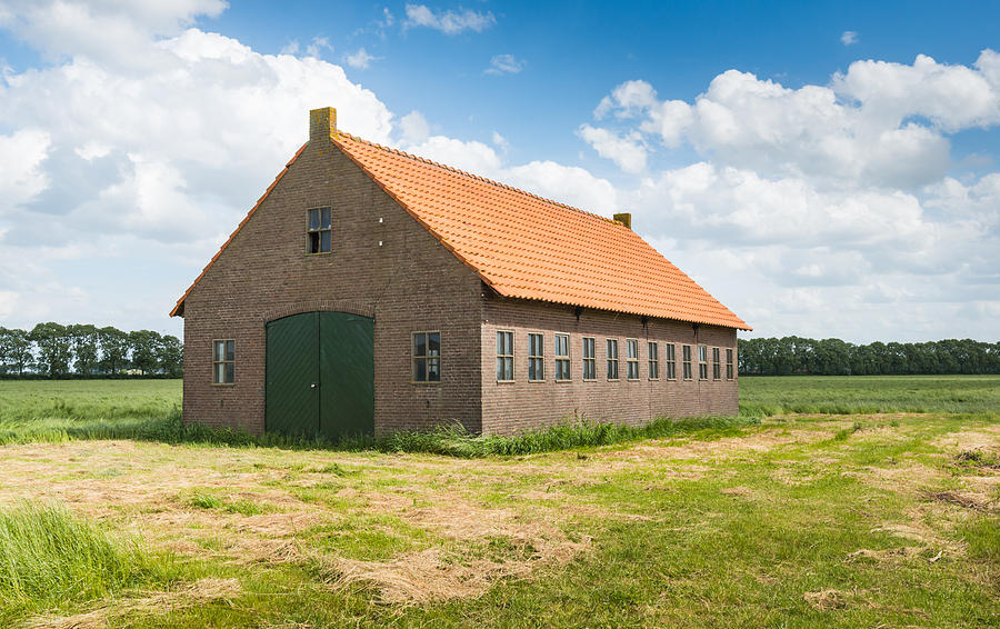 Old Dutch Barn Of Brick Masonry With An Orange Tile Roof Photograph  - Old Dutch Barn Of Brick Masonry With An Orange Tile Roof Fine Art Print