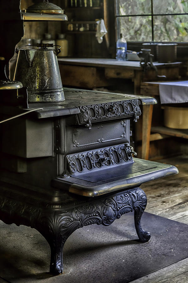Old Farm Kitchen And Wood Burning Stove Photograph