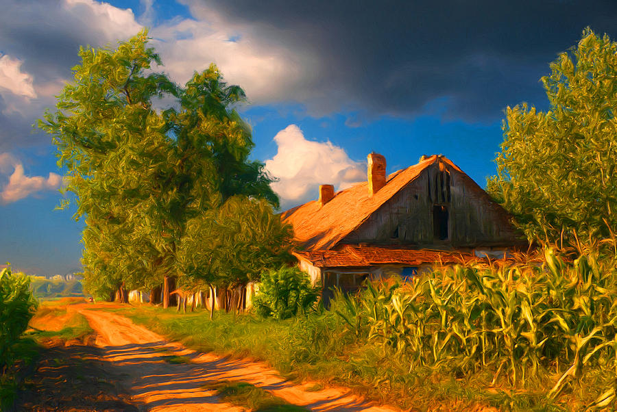 Old Farm On The Country Side Painting  - Old Farm On The Country Side Fine Art Print