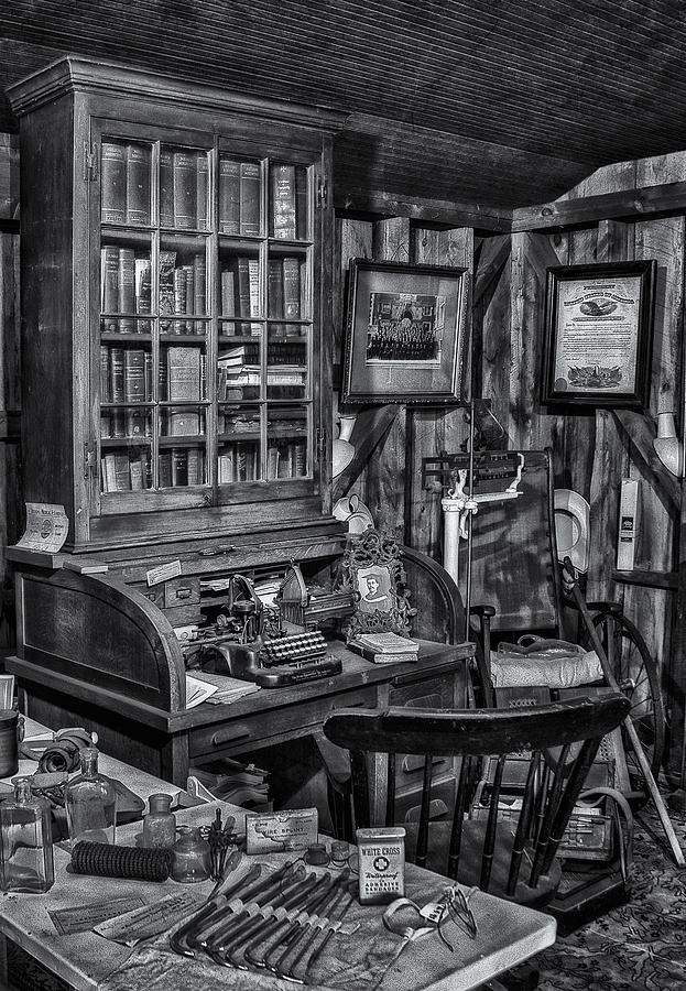 Dr. Photograph - Old Fashioned Doctors Office Bw by Susan Candelario