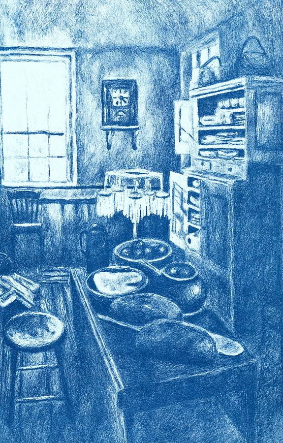 Old Fashioned Kitchen In Blue Drawing