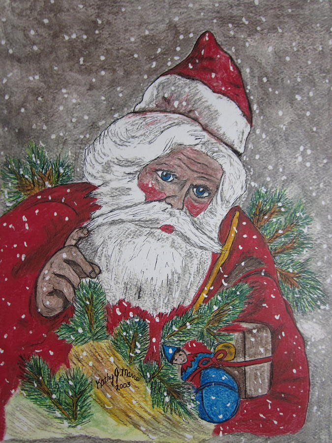 Old Fashioned Santa Painting  - Old Fashioned Santa Fine Art Print