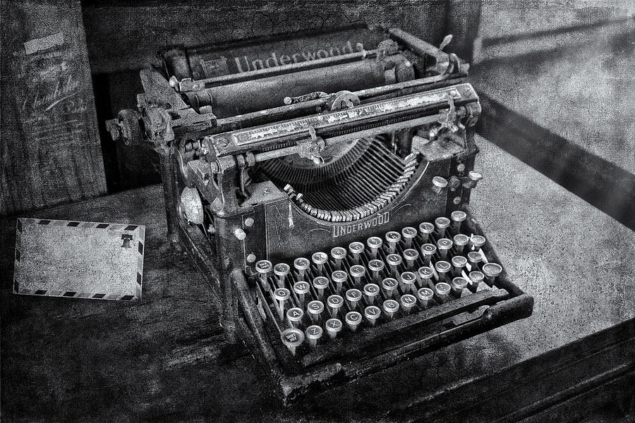 Old Fashioned Underwood Typewriter Bw Photograph  - Old Fashioned Underwood Typewriter Bw Fine Art Print