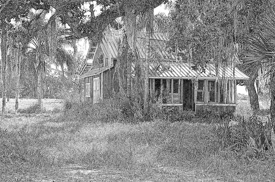 Old Florida House Pencil Photograph