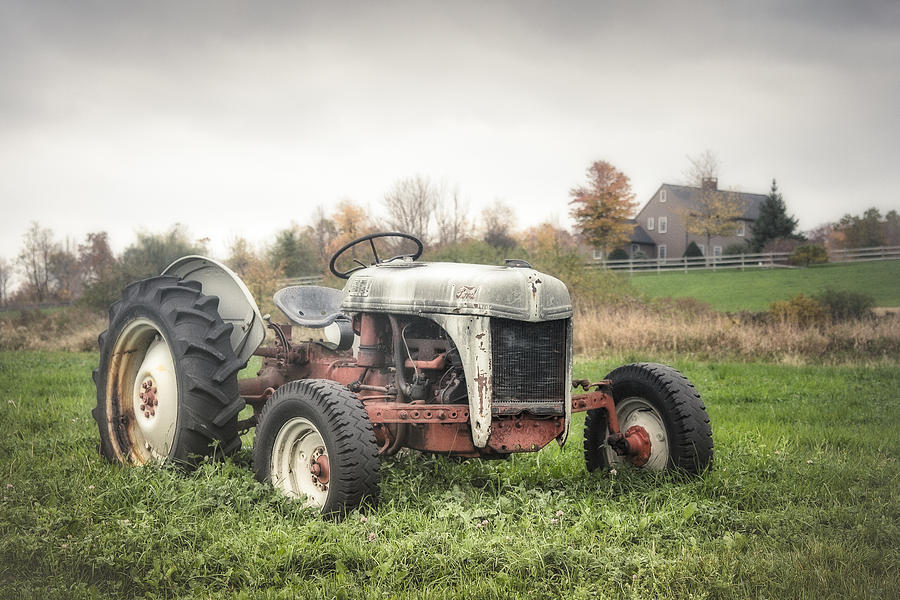 Old Ford Tractor And Farm House Photograph