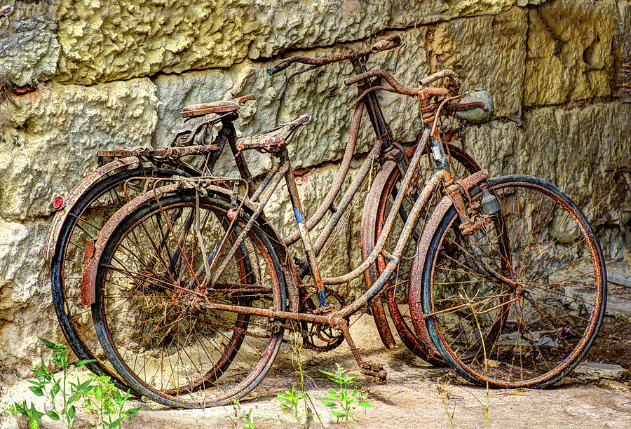 Old French Bicycles Photograph