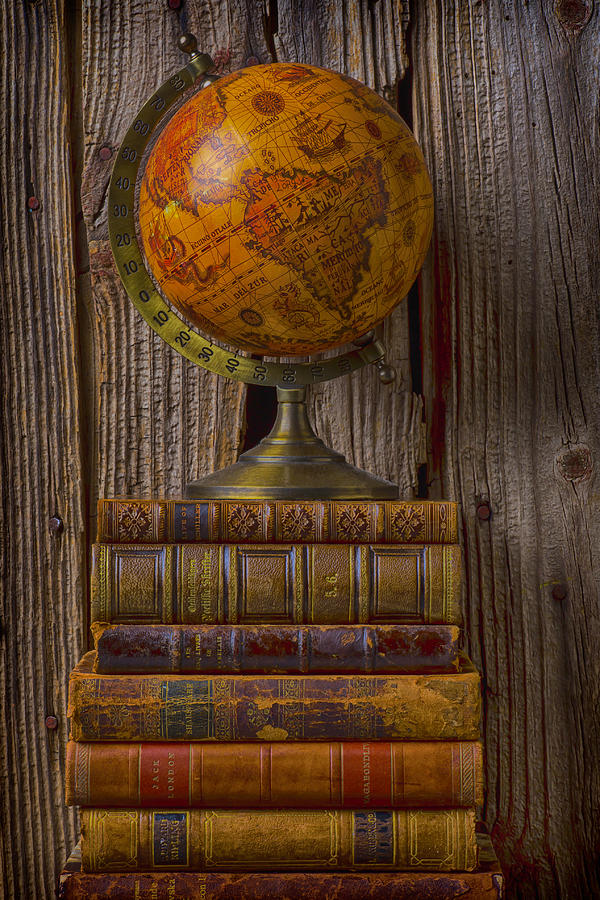 Old Globe On Old Books Photograph  - Old Globe On Old Books Fine Art Print