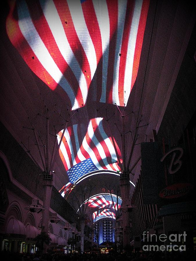 Old Glory In Vegas Photograph  - Old Glory In Vegas Fine Art Print