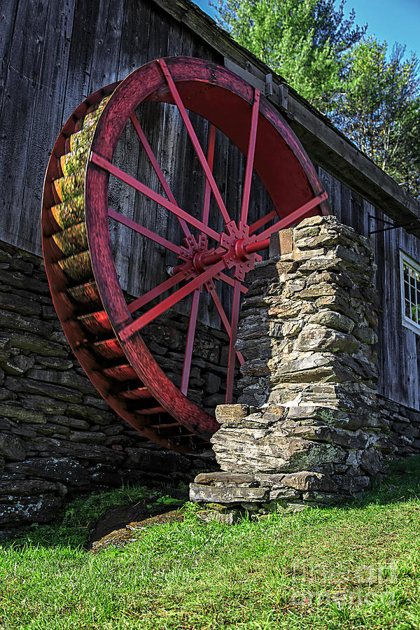 Wheel Photograph - Old Grist Mill Vermont by Edward Fielding