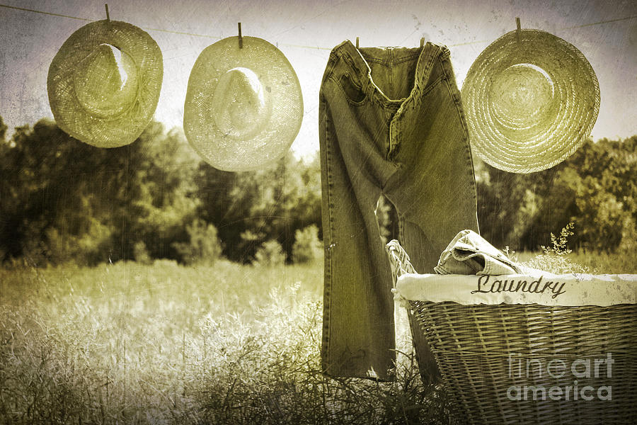 Old Grunge Photo Of Jeans And Straw Hats  Photograph  - Old Grunge Photo Of Jeans And Straw Hats  Fine Art Print