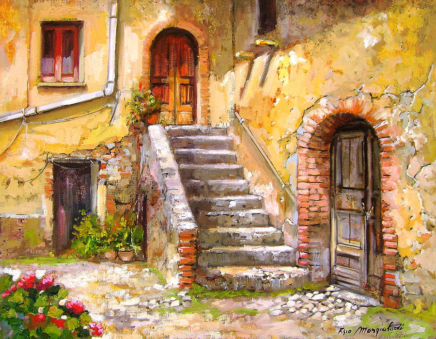 Old house calabria italy painting by francesco mangialardi for Classic house painting