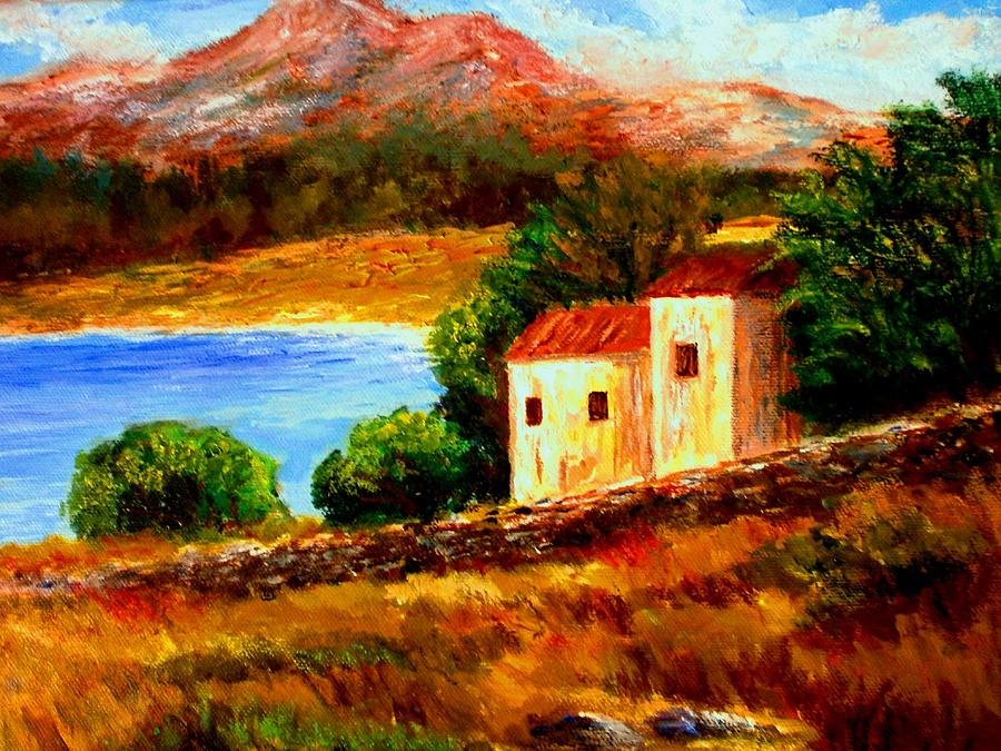 Old House In Mani Painting  - Old House In Mani Fine Art Print