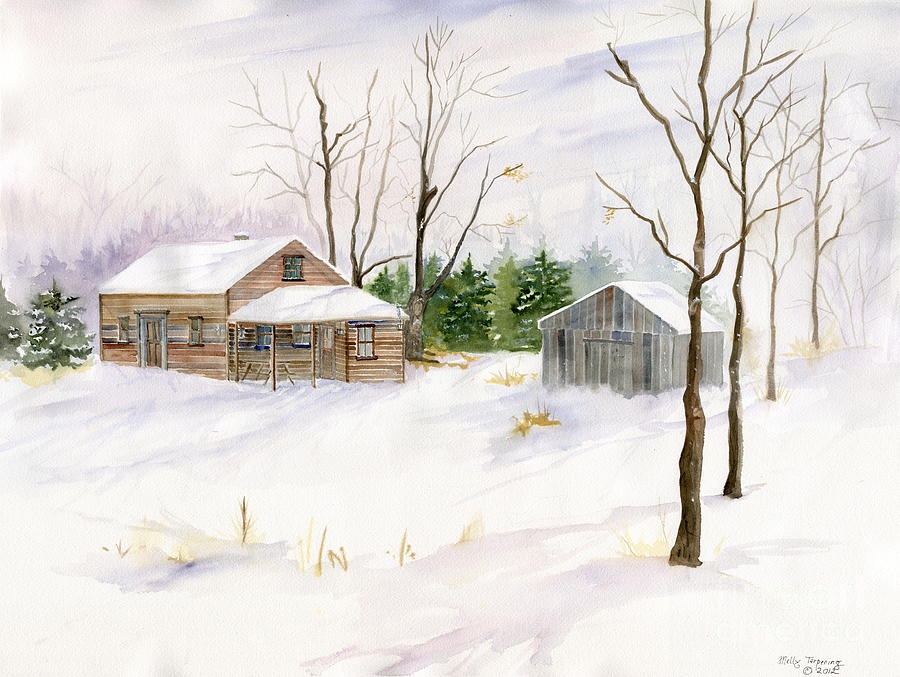Old House In Winter Scene Painting  - Old House In Winter Scene Fine Art Print