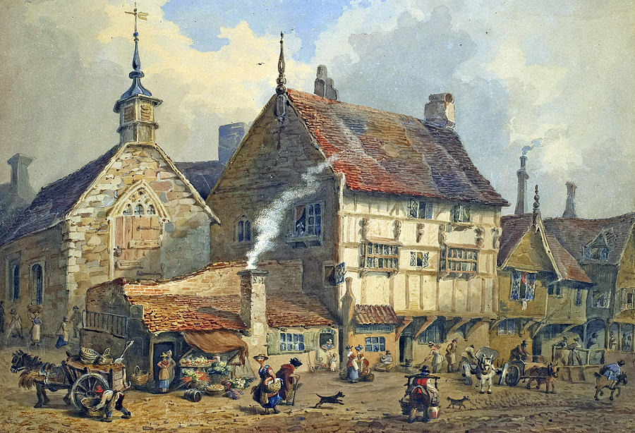 Old Houses And St Olaves Church Painting