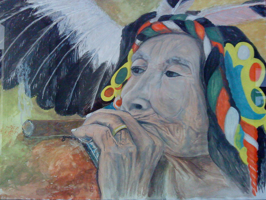 Old Indian Woman Painting