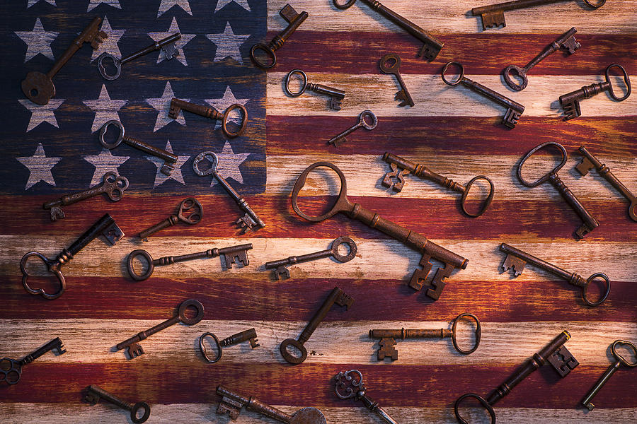 Old Photograph - Old Keys On American Flag by Garry Gay