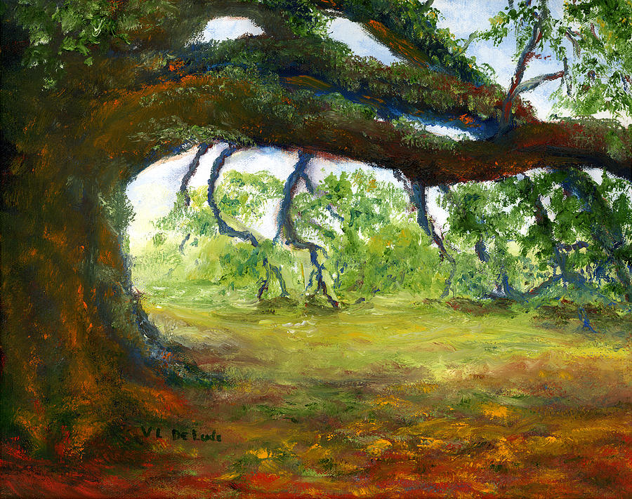 Old Louisiana Plantation Oak Tree Painting  - Old Louisiana Plantation Oak Tree Fine Art Print