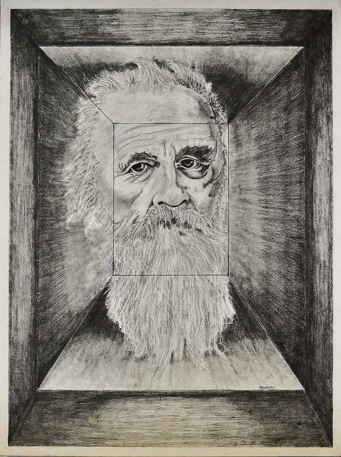Old Man Head In Box Drawing  - Old Man Head In Box Fine Art Print