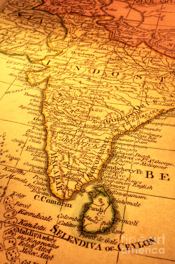 Ancient Photograph - Old Map Of India And Sri Lanka by Colin and Linda McKie