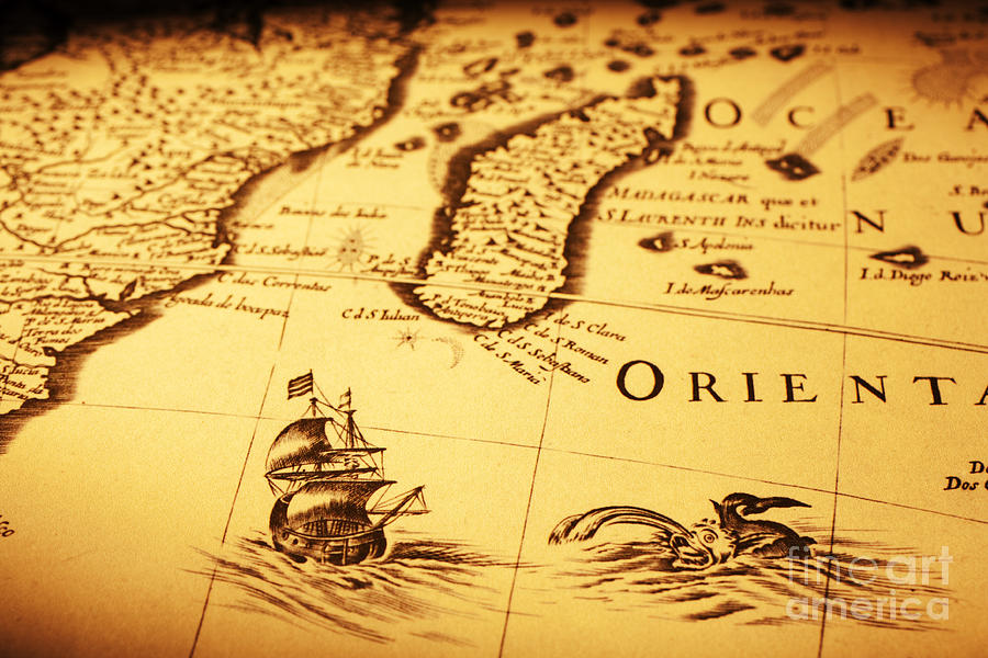 Old Map Sea Monster Sailing Ship Africa Madagascar Photograph  - Old Map Sea Monster Sailing Ship Africa Madagascar Fine Art Print
