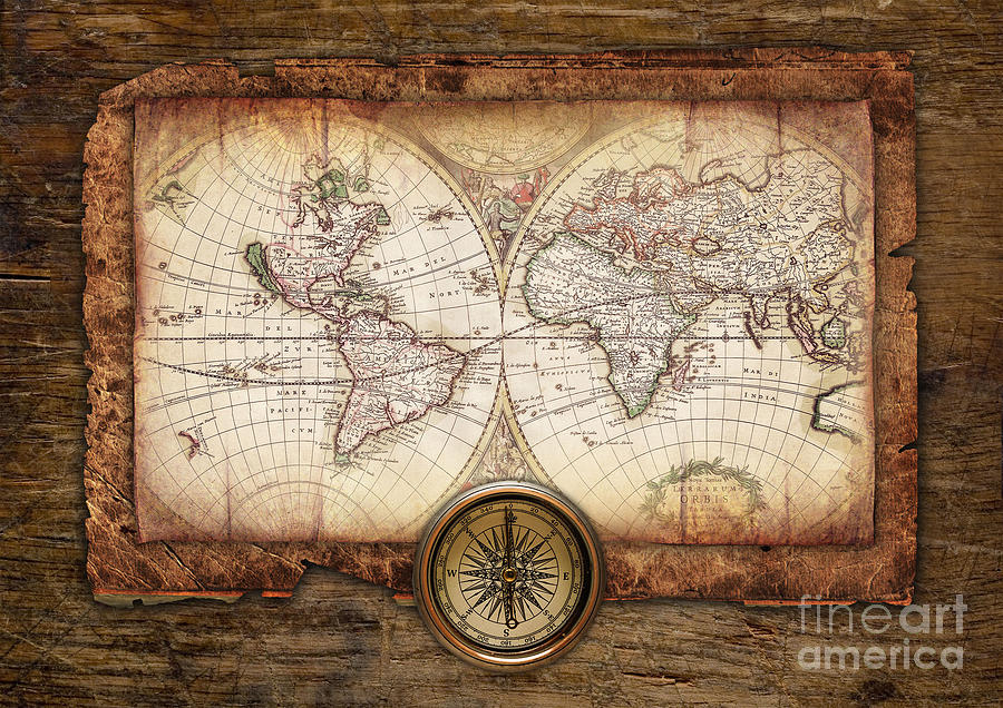 Old Maps Pyrography  - Old Maps Fine Art Print