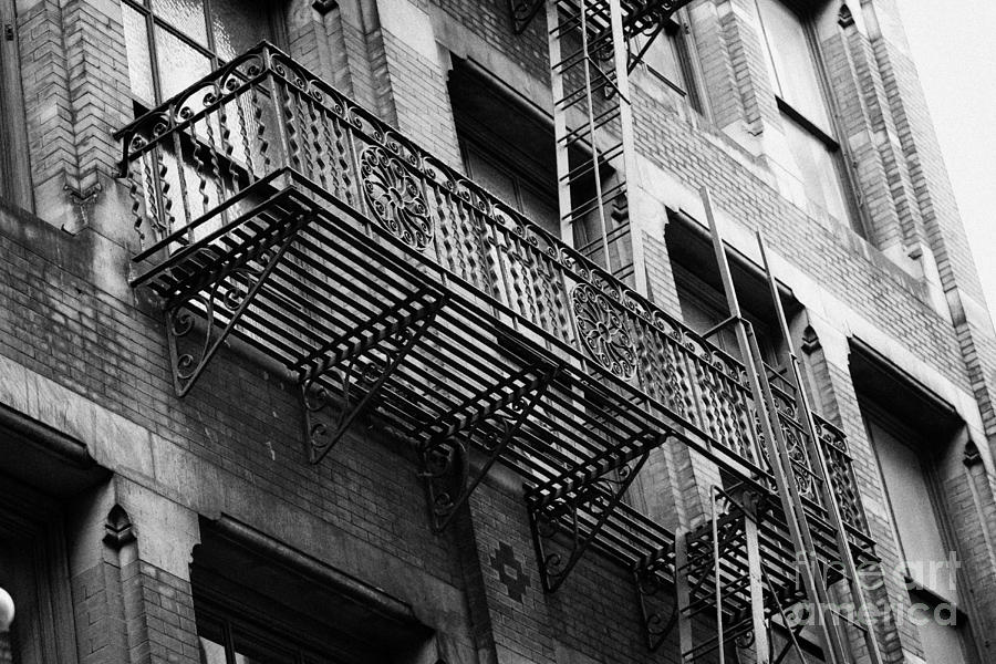 Old Metal Fire Escape Staircase On Side Of Building Greenwich Village New York City Photograph