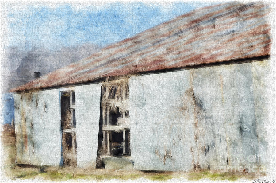 Old Metel Shed Painted Effect Digital Art  - Old Metel Shed Painted Effect Fine Art Print