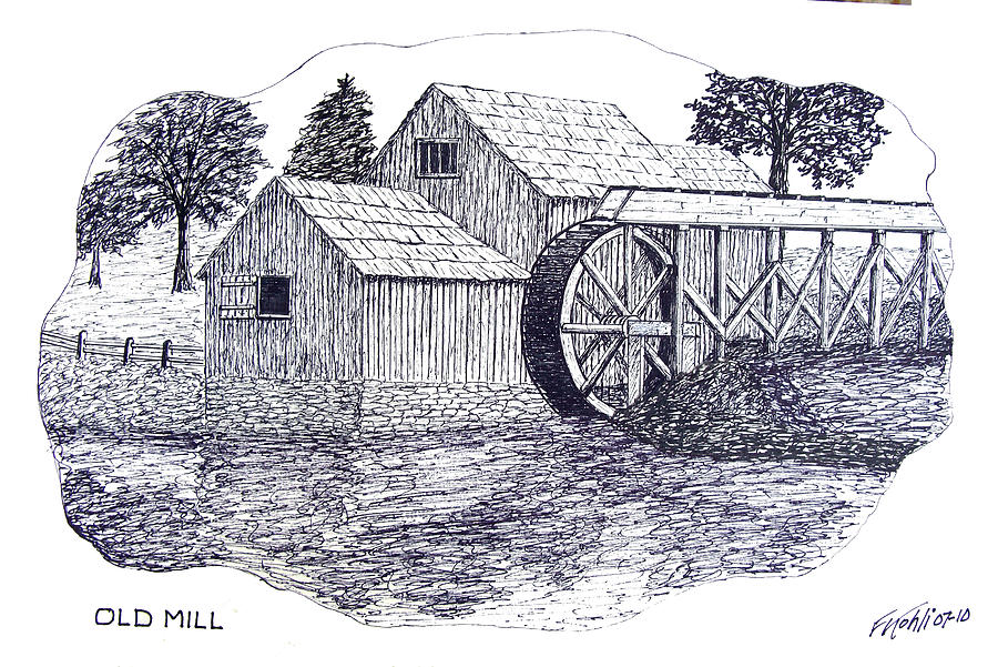 Ink Drawing - Old Mill by Frederic Kohli