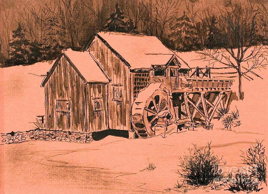 Old Mill In Snow Drawing  - Old Mill In Snow Fine Art Print
