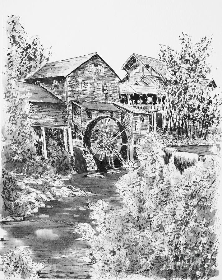 Old Mill-little Pigeon River Drawing