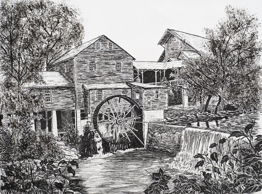 Old Mill-pigeon Forge Drawing  - Old Mill-pigeon Forge Fine Art Print