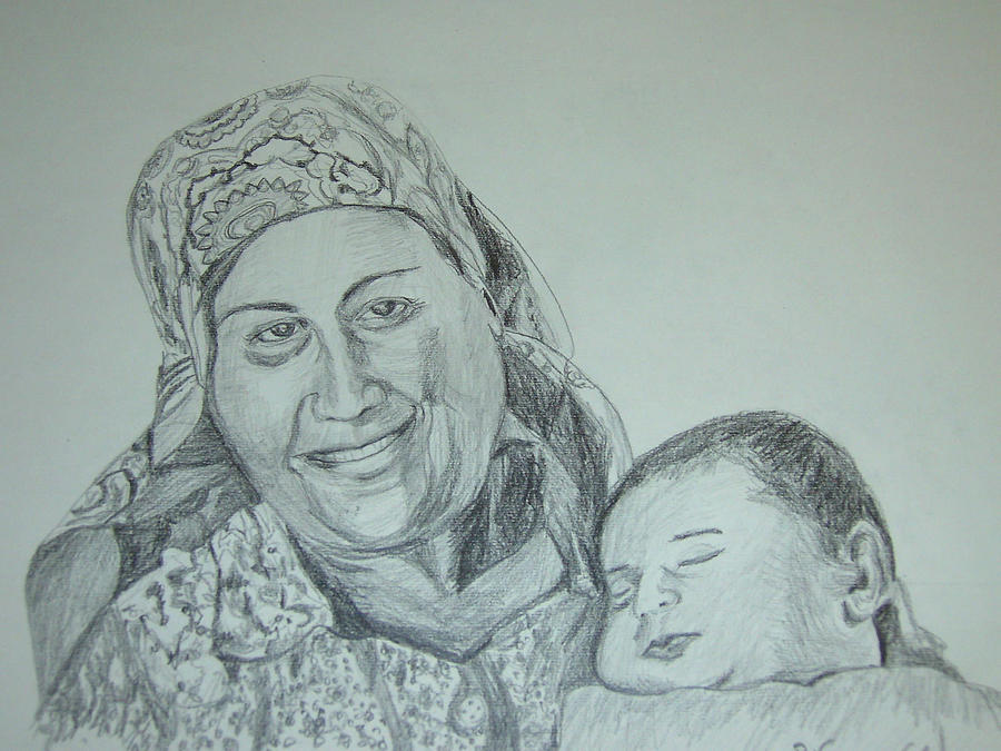 Old Mother With New Baby Drawing  - Old Mother With New Baby Fine Art Print