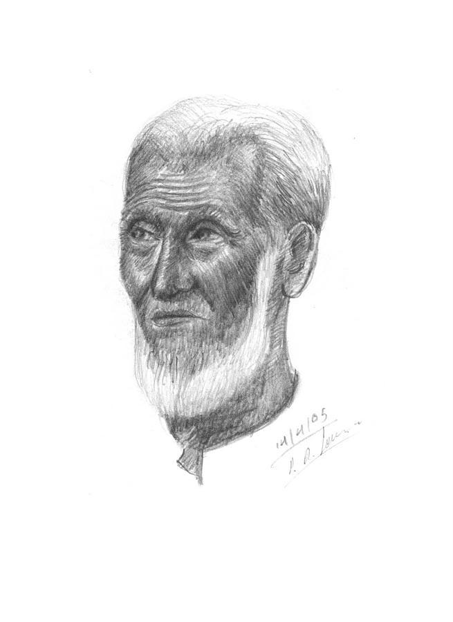 Portrait Drawing - Old Muslim Men by Prakash Leuva