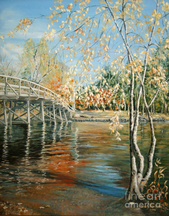 Old North Bridge Concord Painting  - Old North Bridge Concord Fine Art Print