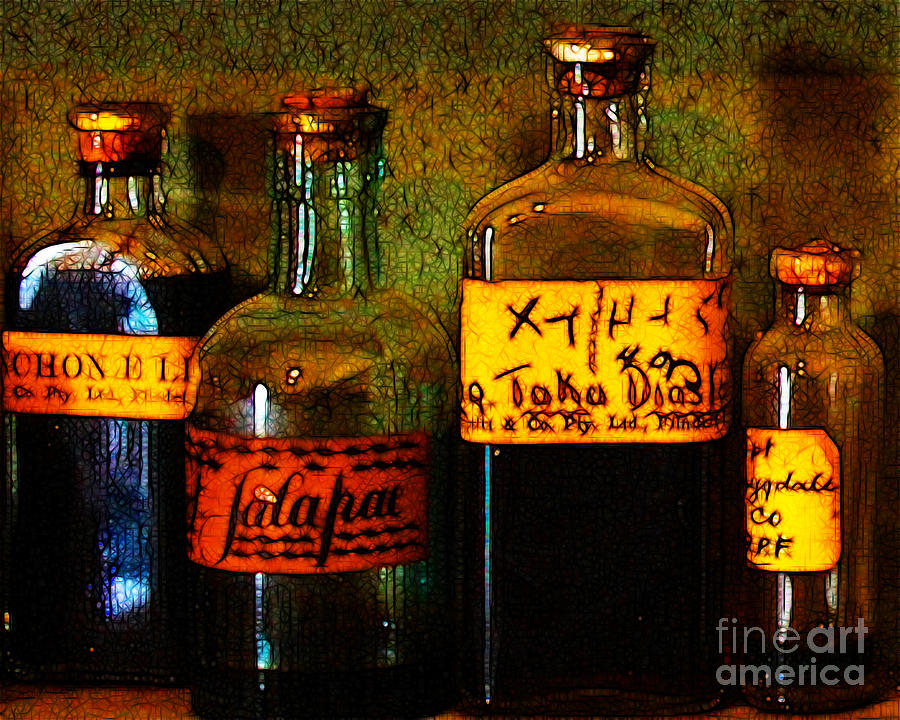 Old Pharmacy Bottles - 20130118 V1b Photograph  - Old Pharmacy Bottles - 20130118 V1b Fine Art Print