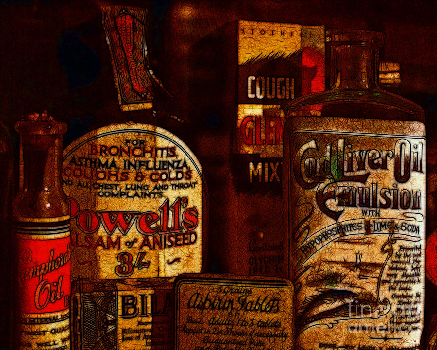 Old Pharmacy Bottles - 20130118 V2b Photograph  - Old Pharmacy Bottles - 20130118 V2b Fine Art Print