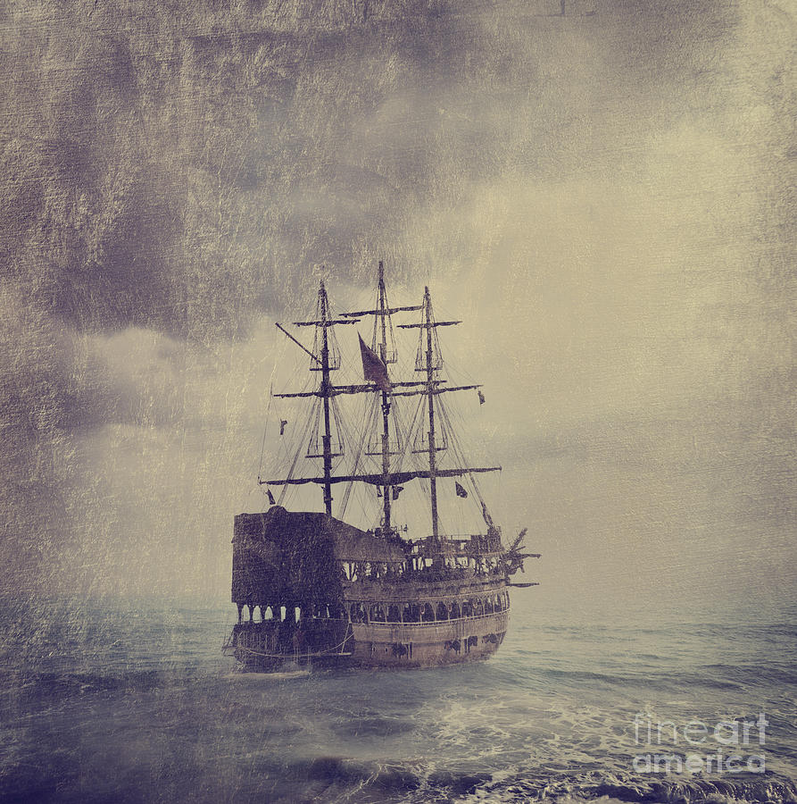 Old Pirate Ship Digital Art
