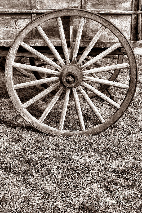 Old Prairie Schooner Wheel Photograph