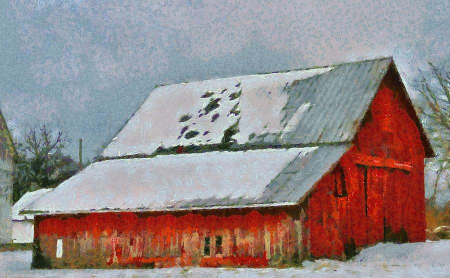Old Red Barn In Winter Painting