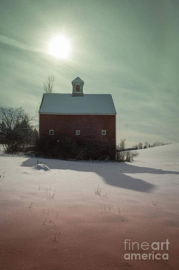 Old Red Barn Long Shadow Photograph