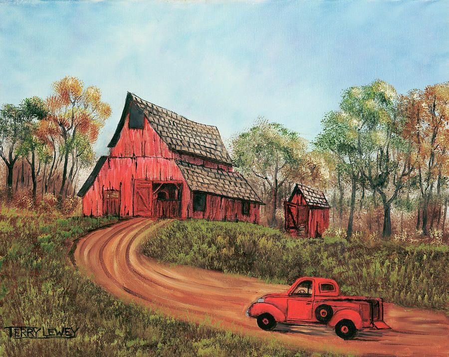 Old Barn Painting - Old Red Barn by Terry Lewey