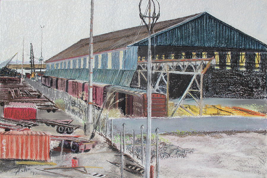 Industrial Landscape Painting Painting - Old Resting Train And Schnitzer Steel Building by Asha Carolyn Young