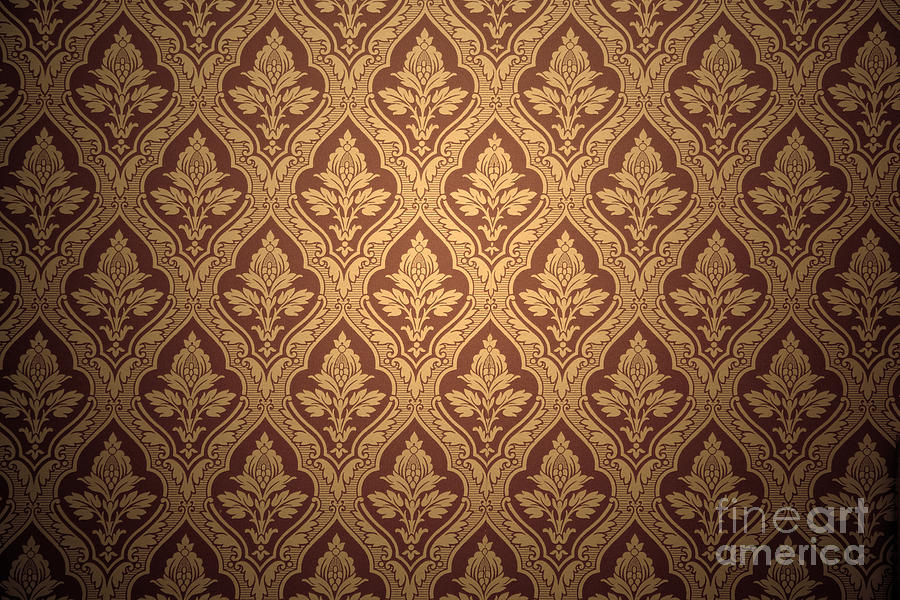 Old Retro Wallpaper In Sepia Photograph