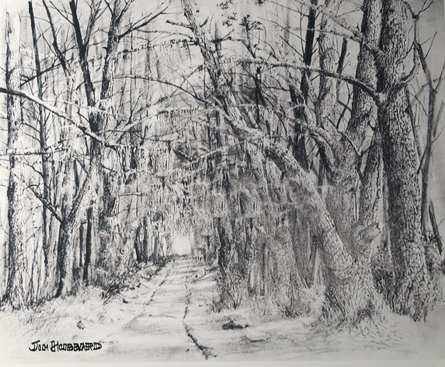 Landscapes Drawing - Old Rte 101 by Jim Hubbard