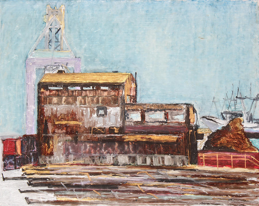 Industrial Landscape Painting Painting - Old Rustic Schnitzer Steel Building With Crane And Ship by Asha Carolyn Young