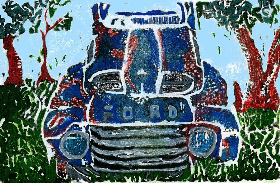 Car Drawing - Old Rusty Ford by Jame Hayes