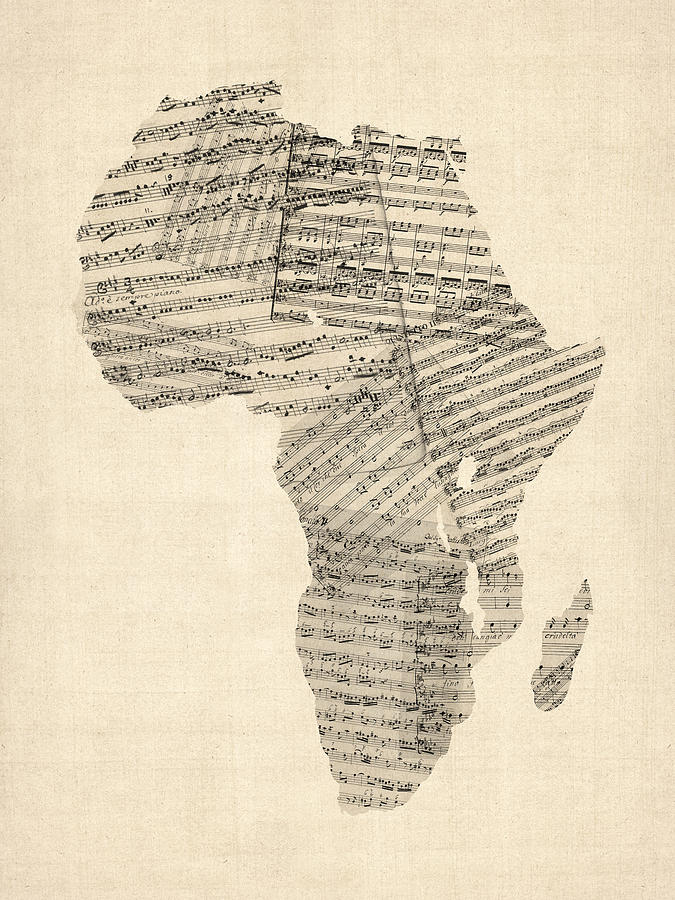 Old Sheet Music Map Of Africa Map Digital Art
